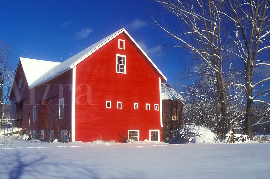 AJ5966, red barn, winter scene, snow, Vermont, A red barn in the snow under a clear blue sky in winter in Underhill in Chittenden County in the state of Vermont.