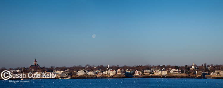 Three towers over Marblehead Harbor at sunrise, Marblehead, MA, USA