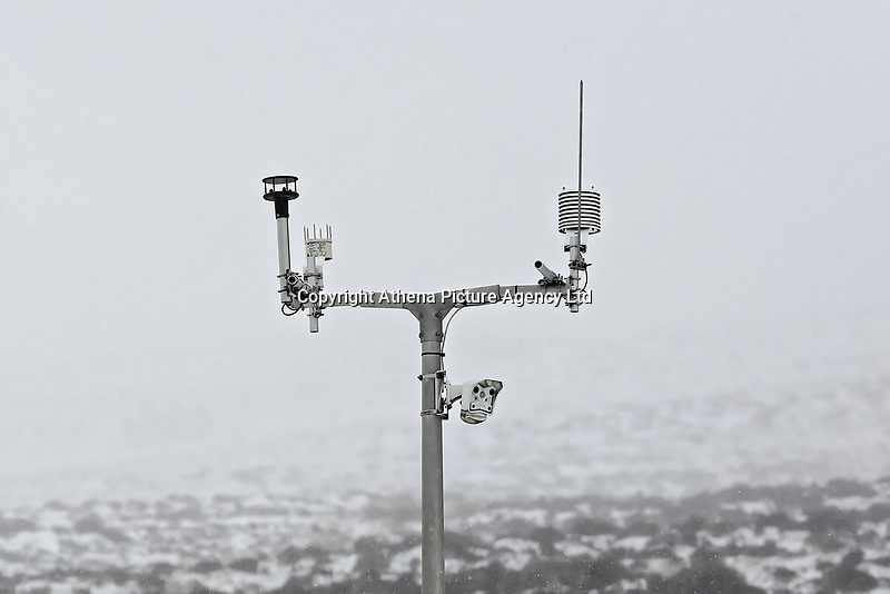 WEATHER PICTURE WALES<br /> Pictured: A weather station by the A470 road in Storey Arms, Brecon Beacons in south Wales, UK. Friday 02 March 2018<br /> Re: Beast from the East and Storm Emma has been affecting most parts of the UK.