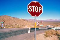 Highway through the Mojave Desert, Southern California, CA, USA, ca. April 2012