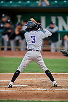 Cristopher Navarro (3) of the Grand Junction Rockies at bat against the Ogden Raptors at Lindquist Field on September 9, 2019 in Ogden, Utah. The Raptors defeated the Rockies 6-5. (Stephen Smith/Four Seam Images)