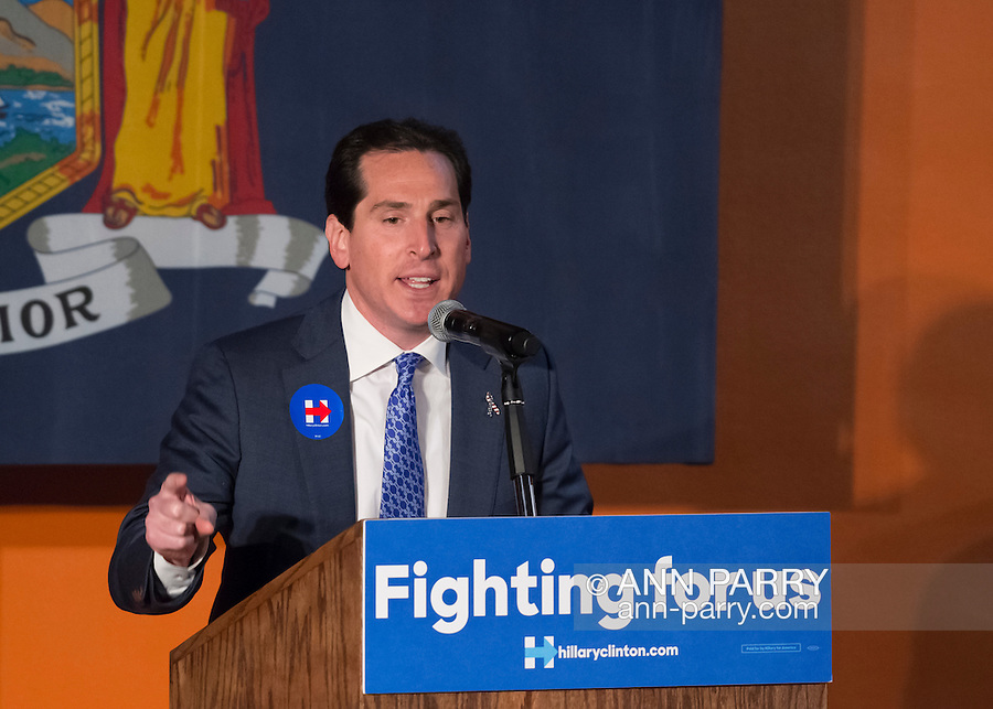 Elmont, New York, USA. April 5, 2016. Assemblyman TODD KAMINSKY, the Democratic party's candidate in the upcoming special election for the State Senate seat, is about to introduce former President Bill Clinton at an Organizing Event in Elmont, Long Island, on behalf of his wife, Hillary Clinton, the leading Democratic presidential candidate. The the Special Election for NYS Senate Seat and the New York Presidential Primary both take place April 19th.