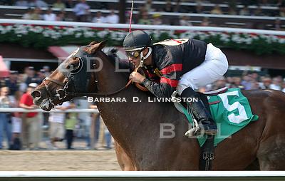Ghostzapper, Javier Castellano up.  Saratoga, 2003. Saratoga Race Course, Saratoga Racetrack, beautiful horse racing, Thoroughbred racing, horse, equine, racehorse, morning mood