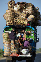 Packed transport on the road between Bago and Taungoo.