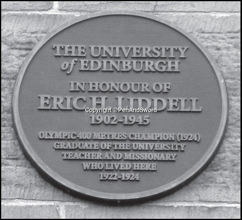 BNPS.co.uk (01202) 558833Pic: PenAndSword/BNPS<br /> <br /> A plaque at the University of Edinburgh in honour of Eric Liddell.<br /> <br /> The tragic stories of the 90 international rugby players who gave their lives in the Second World War have been told in a poignant new book.<br /> <br /> These days elite rugby players go to war on the pitch, putting their bodies through hell to secure victory, but these heroic ex-internationals went to war for real - for a far greater purpose - never to return. <br /> <br /> Included in their ranks was the grandfather of actor Rory Kinnear, a Russian prince who scored one of England's greatest tries and Scottish international Eric Liddell whose exploits on the track were immortalised in the 1981 Oscar-winning film Chariots of Fire.<br /> <br /> Historian and screenwriter Nigel McCrery, who created the BBC TV series' Silent Witness and New Tricks, has meticulously researched the lives of all these fallen heroes.