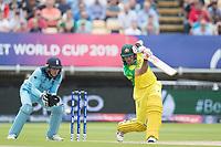 Glenn Maxwell (Australia) drives into the covers during Australia vs England, ICC World Cup Semi-Final Cricket at Edgbaston Stadium on 11th July 2019