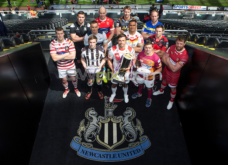 Picture by Alex Whitehead/SWpix.com - 26/05/2015 - Rugby League - First Utility Super League Magic Weekend - St James' Park, Newcastle, England - Twelve representatives from the Super League clubs pose for a photo at St James' Park to preview the 2015 Magic Weekend in Newcastle. (Wigan's Tony Clubb, Hull FC's Josh Bowden, Widnes' Joe Mellor, Leeds' Kevin Sinfield, Hull KR's Terry Campese, St Helens' Jon Wilkin (with trophy), Castleford's Michael Shenton, Catalans' Jeff Lima, Warrington's Chris Hill, Huddersfield's Danny Brough, Salford's Tommy Lee and Wakefield's Danny Kirmond).