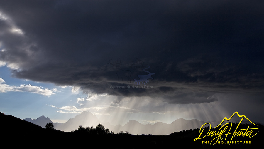 Light Beams, Thunderstorm, Grand Tetons, Grand Teton National Park, Crepuscular Rays<br />