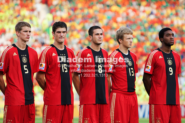 CAIRO - OCTOBER 10:  Germany players line up before the FIFA U-20 World Cup quarterfinal match against Brazil at Cairo International Stadium on October10, 2009 in Cairo, Egypt.  L-R:  Lars Bender, Semih Aydilek, Mario Vrancic, Bjorn Kopplin, Richard Sukuta-Pasu.  Editorial use only.  Commercial use prohibited.  (Photograph by Jonathan P. Larsen)