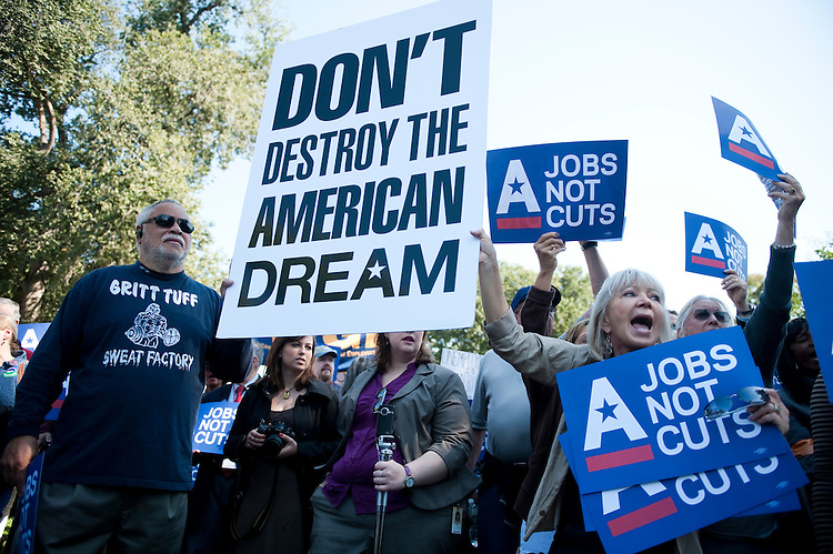 "UNITED STATES - OCTOBER 5: The Campaign for America's Future holds their ""Jobs, Not Cuts"" rally at the U.S. Capitol as part of their conference on ""Take Back the American Dream"" on Wednesday, Oct. 5, 2011. (Photo By Bill Clark/CQ Roll Call)"