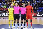 League LNFS 2017/2018 - Game 15.<br /> FC Barcelona Lassa vs Gran Canaria FS: 9-2.<br /> Saul Jimenez &amp; Paco Sedano posando con los arbitros.