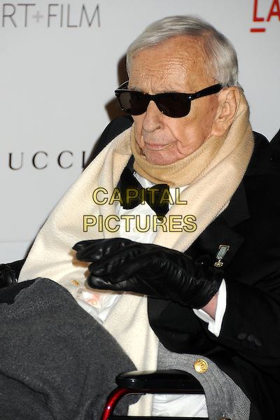 Gore Vidal.The Inaugural Art and Film Gala held at LACMA in Los Angeles, California, USA..November 5th, 2011.half length black tuxedo sunglasses shades scarf white cream.CAP/ADM/BP.©Byron Purvis/AdMedia/Capital Pictures.
