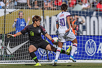 CHICAGO, IL - OCTOBER 06: Carli Lloyd #10 and Kim Minjung #18 of the United States during a game between the USA and Korea Republic at Soldier Field, on October 06, 2019 in Chicago, IL.