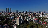 Aerial view taken with a drone on the buildings, houses, condominiums, streets, boulevards and colonies of Mexico City, the largest city in the World. <br />