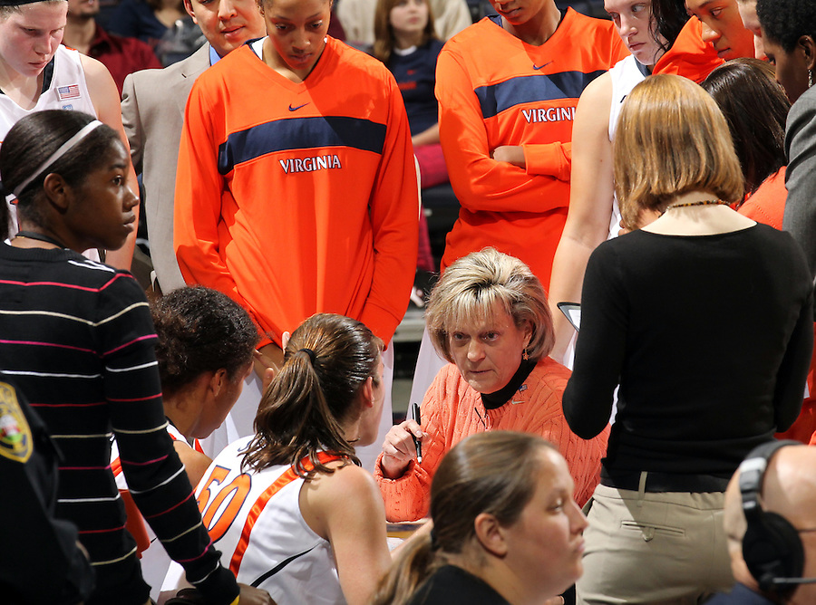 Nov. 14, 2010; Charlottesville, VA, USA;  Virginia Cavaliers head coach Debbie Ryan talks with her players during the game against Mount St. Mary's at the John Paul Jones Arena. Virginia won 81-58.  Mandatory Credit: Andrew Shurtleff-