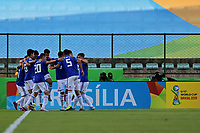31st October 2019; Bezerrao Stadium, Brasilia, Distrito Federal, Brazil; FIFA U-17 World Cup Brazil 2019, Solomon Islands versus Paraguay; Players of Paraguay celebrate the goal from Junior Noguera in the 3rd minute, 0-1 - Editorial Use