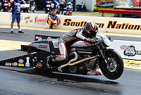 May 6, 2012; Commerce, GA, USA: NHRA pro stock motorcycle rider Eddie Krawiec during the Southern Nationals at Atlanta Dragway. Mandatory Credit: Mark J. Rebilas-