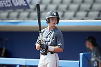 Alex Myers (6) of Cardinal Newman High School in Blythewood, SC waits for his turn to bat during the Atlantic Coast Prospect Showcase hosted by Perfect Game at Truist Point on August 23, 2020 in High Point, NC. (Brian Westerholt/Four Seam Images)