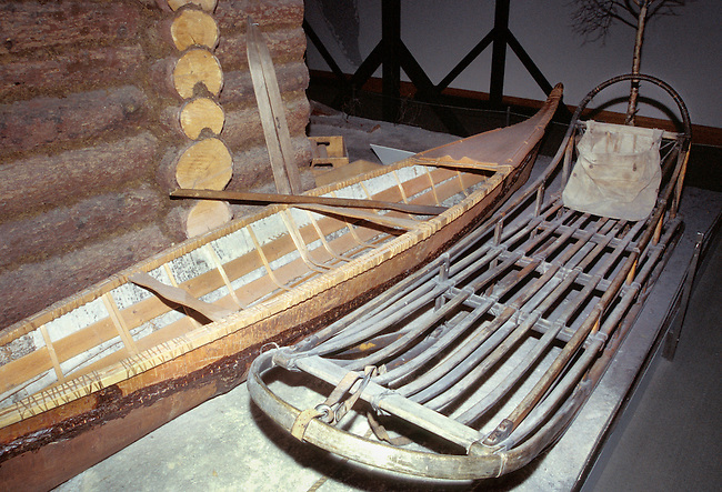 Transportation of the Sub-Arctic Indian tribes such as a birch bark canoe and a toboggan sled.