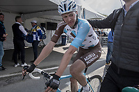 An emotional &amp; dissapointed Oliver Naesen (BEL/AG2R-LaMondiale) can't hold back his teers after finishing having lost all prospects of a good result after being involved in a crash with Peter Sagan up the Oude Kwaremont in the finale of the race<br /> <br /> 101th Ronde Van Vlaanderen 2017 (1.UWT)<br /> 1day race: Antwerp &rsaquo; Oudenaarde - BEL (260km)