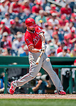 16 August 2017: Los Angeles Angels starting pitcher Ricky Nolasco at bat against the Washington Nationals at Nationals Park in Washington, DC. The Angels defeated the Nationals 3-2 to split their 2-game series. Mandatory Credit: Ed Wolfstein Photo *** RAW (NEF) Image File Available ***
