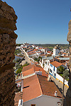 View over rooftops of whitewashed houses and streets in the small rural settlement village of Terena, Alentejo Central, Portugal, Southern Europe from ramparts of Castle of Terena, a listed national monument