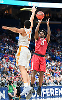 NWA Democrat-Gazette/CHARLIE KAIJO Arkansas Razorbacks guard Jaylen Barford (0) shoots as Tennessee Volunteers forward Grant Williams (2) covers during the Southeastern Conference Men's Basketball Tournament semifinals, Saturday, March 10, 2018 at Scottrade Center in St. Louis, Mo. The Tennessee Volunteers knocked off the Arkansas Razorbacks 84-66