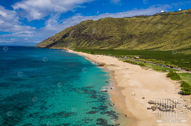 Yokohama Bay and Keawa'ula (or Yokohama) Beach Park, seen from above, West O'ahu.