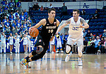 January 24, 2017:  San Diego State forward, Max Hoetzel #10, drives past Falcon, Ryan Manning #32, during the NCAA basketball game between the San Diego State Aztecs and the Air Force Academy Falcons, Clune Arena, U.S. Air Force Academy, Colorado Springs, Colorado.  Air Force defeats San Diego State 60-57.