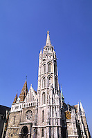 Budapest Hungary historical Mattlias Coronation Church on hill.
