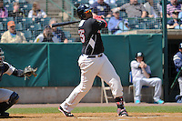 Kennys Vargas (35) of the New Britain Rock Cats bats during a game against the Trenton Thunder on at New Britain Stadium on May 7, 2014  in New Britain, Connecticut.  Trenton defeated New Britain 6-4.  (Gregory Vasil/Four Seam Images)