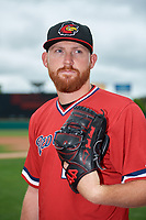 Rochester Red Wings pitcher Zack Littell (27) poses for a photo before a game against the Pawtucket Red Sox on May 20, 2018 at Frontier Field in Rochester, New York.  Rochester defeated Pawtucket 3-0.  (Mike Janes/Four Seam Images)