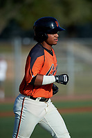 AZL Giants Orange Luis Toribio (22) jogs to first base after drawing a walk during an Arizona League game against the AZL Mariners on July 18, 2019 at the Giants Baseball Complex in Scottsdale, Arizona. The AZL Giants Orange defeated the AZL Mariners 7-4. (Zachary Lucy/Four Seam Images)