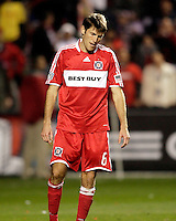 Chicago Fire defender Brandon Prideaux (6) is dejected after failing to convert his penalty kick.  Real Salt Lake defeated the Chicago Fire in a penalty kick shootout 0-0 (5-4 PK) in the Eastern Conference Final at Toyota Park in Bridgeview, IL on November 14, 2009.