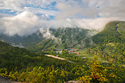 Franconia Notch State Park from Bald Mountain in the White Mountains, New Hampshire USA.