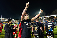 Charlie Ewels of Bath Rugby celebrates with supporters in the crowd. European Rugby Champions Cup match, between Bath Rugby and RC Toulon on December 16, 2017 at the Recreation Ground in Bath, England. Photo by: Patrick Khachfe / Onside Images