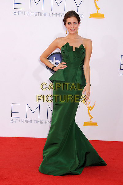 Allison Williams.The 64th Anual Primetime Emmy Awards - Arrivals, held at Nokia Theatre L.A. Live in Los Angeles, California, USA..September 23rd, 2012.emmys full length green strapless peplum dress hand on hip.CAP/ADM/BP.©Byron Purvis/AdMedia/Capital Pictures.