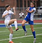Freeburg player Peyton Ganz (8, left) and Roxana player Macie Lucas battle for control of the ball. Roxana High School played a girls soccer game at Freeburg High School on Thursday May 3, 2018. Tim Vizer | Special to STLhighschoolsports.com