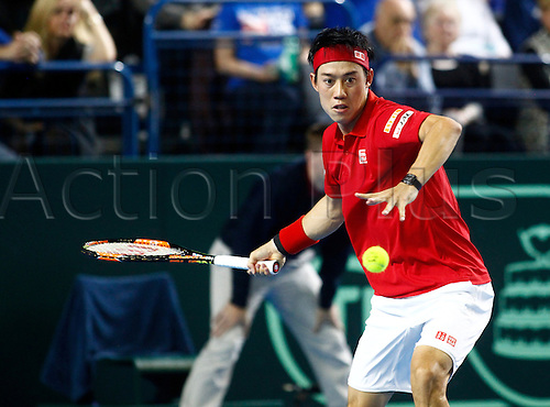 04.03.2016. Barclaycard Arena, Birmingham, England. Davis Cup Tennis World Group First Round. Great Britain versus Japan.Kei Nishikori of Japan hits a forehand during his singles match against Great Britain's Dan Evans on day 1 of the tie. Nishikori won in straight sets 6-3, 7-5, 7-6.