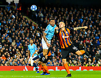 Manchester City's Gabriel Jesus competes in the air with Shakhtar Donetsk's Yaroslav Rakytskyy<br /> <br /> Photographer Alex Dodd/CameraSport<br /> <br /> UEFA Champions League Group F - Manchester City v Shakhtar Donetsk - Wednesday 7th November 2018 - City of Manchester Stadium - Manchester<br />  <br /> World Copyright © 2018 CameraSport. All rights reserved. 43 Linden Ave. Countesthorpe. Leicester. England. LE8 5PG - Tel: +44 (0) 116 277 4147 - admin@camerasport.com - www.camerasport.com
