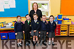 Class teacher Brid Forde with her new junior infants l-r Ella McCarthy, Ryan Cronin, Alva McCarthy, Jack Doyle and Ella O'Sullivan on their first day of school at Anabla NS last Tuesday.