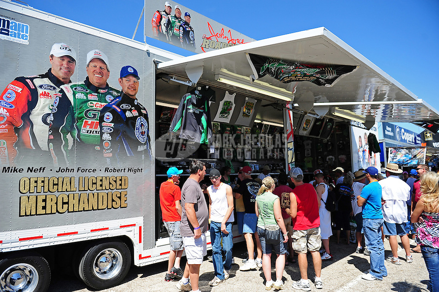 Sept. 24, 2011; Ennis, TX, USA: NHRA fans at the merchandise trailer of funny car driver John Force during qualifying for the Fall Nationals at the Texas Motorplex. Mandatory Credit: Mark J. Rebilas-