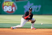 Chattanooga Lookouts shortstop Nick Gordon (5) fields a ground ball during a game against the Jackson Generals on April 29, 2017 at The Ballpark at Jackson in Jackson, Tennessee.  Jackson defeated Chattanooga 7-4.  (Mike Janes/Four Seam Images)