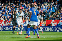LEICESTER, ENGLAND - APRIL 18: Gylfi Sigurosson of Swansea City  in action during the Premier League match between Leicester City and Swansea City at The King Power Stadium on April 18, 2015 in Leicester, England.  (Photo by Athena Pictures/Getty Images)