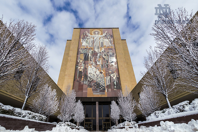 Mar. 12, 2014; Hesburgh Library after a late winter snow.<br /> <br /> Photo by Matt Cashore/University of Notre Dame