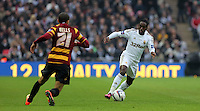 Pictured: (L-R) Nahki Wells, Nathan Dyer. Sunday 24 February 2013<br /> Re: Capital One Cup football final, Swansea v Bradford at the Wembley Stadium in London.