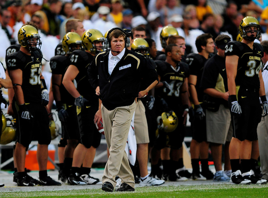 31 Aug 2008: Colorado Coach Dan Hawkins watches a game against Colorado State from the sideline. The Colorado Buffaloes defeated the Colorado State Rams 38-17 at Invesco Field at Mile High in Denver, Colorado. FOR EDITORIAL USE ONLY