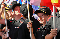March 25, 2018: A Grid Kid reacts on the grid prior to the start of the 2018 Australian Formula One Grand Prix at Albert Park, Melbourne, Australia. Photo Sydney Low