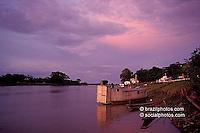 Boat, small village,  Pantanal Matogrossense, Brazil.