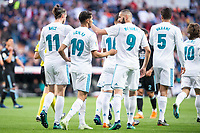 Real Madrid Gareth Bale, Achraf Hakimi, Karim Benzema and Raphael Varane celebrating a goal during La Liga match between Real Madrid and Celta de Vigo at Santiago Bernabeu Stadium in Madrid, Spain. May 12, 2018. (ALTERPHOTOS/Borja B.Hojas) /NORTEPHOTOMEXICO